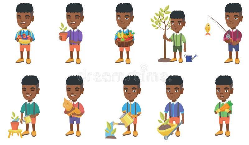 Liten afrikansk uppsättning för pojkevektorillustrationer stock illustrationer