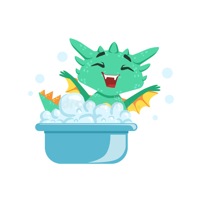 Liten Animestil behandla som ett barn den Dragon Enjoying Bubble Bath Cartoon teckenEmoji illustrationen stock illustrationer