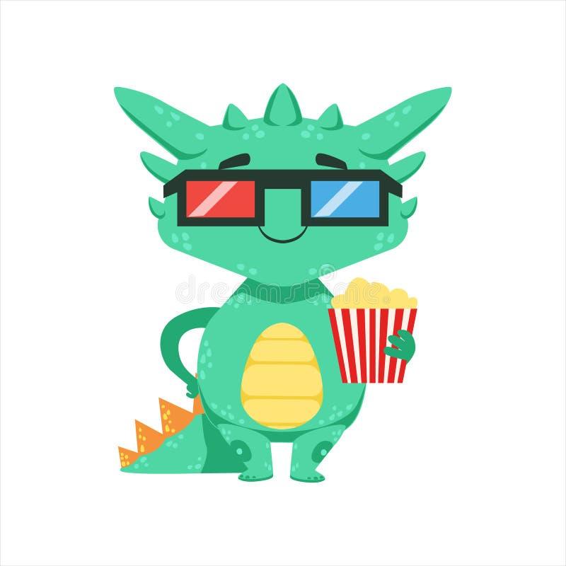 Liten Animestil behandla som ett barn den Emoji för teckenet för den Dragon In Movie Theatre In 3D exponeringsglastecknade filmen vektor illustrationer