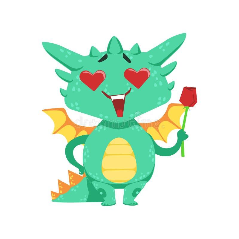 Liten Animestil behandla som ett barn Dragon In Love Holding Single röda Rose Cartoon Character Emoji Illustration royaltyfri illustrationer