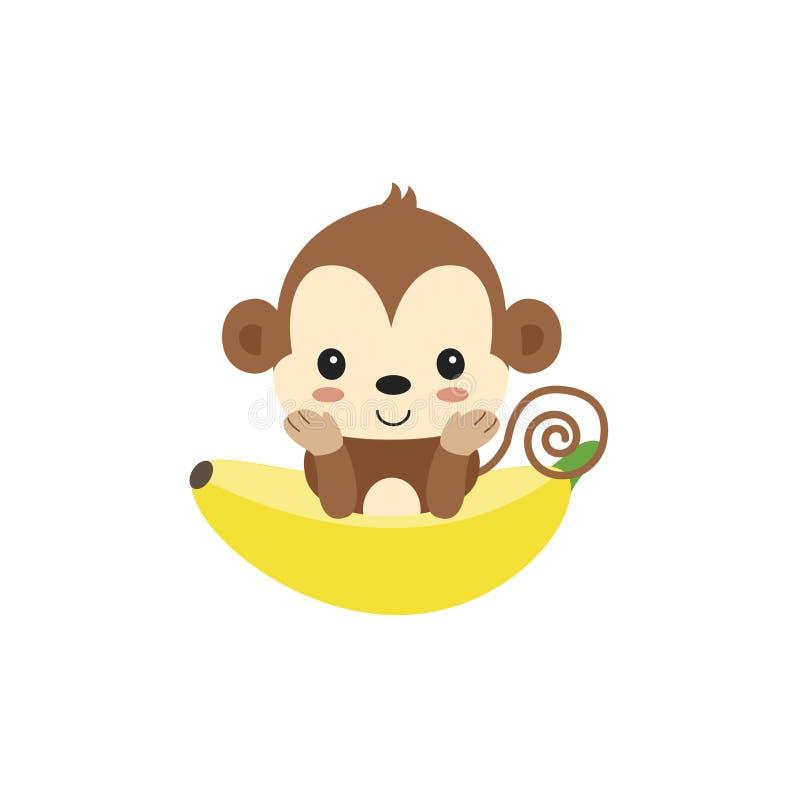 Liten apa och banan gulligt djurt tecken royaltyfri illustrationer