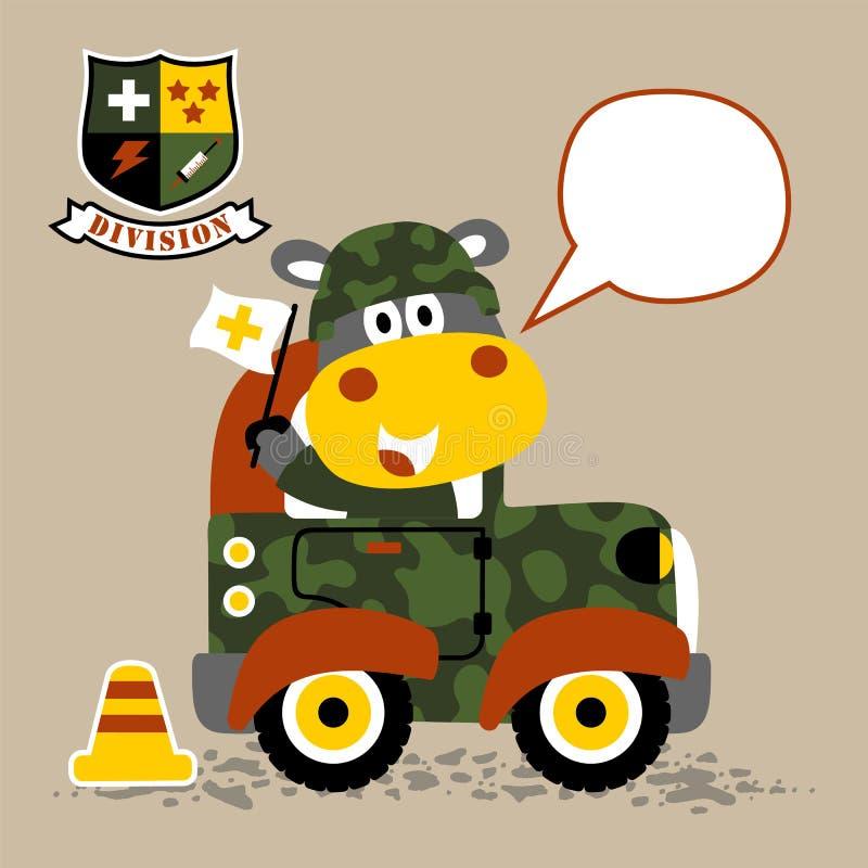 Liten armébil med den gulliga armétecknade filmen royaltyfri illustrationer