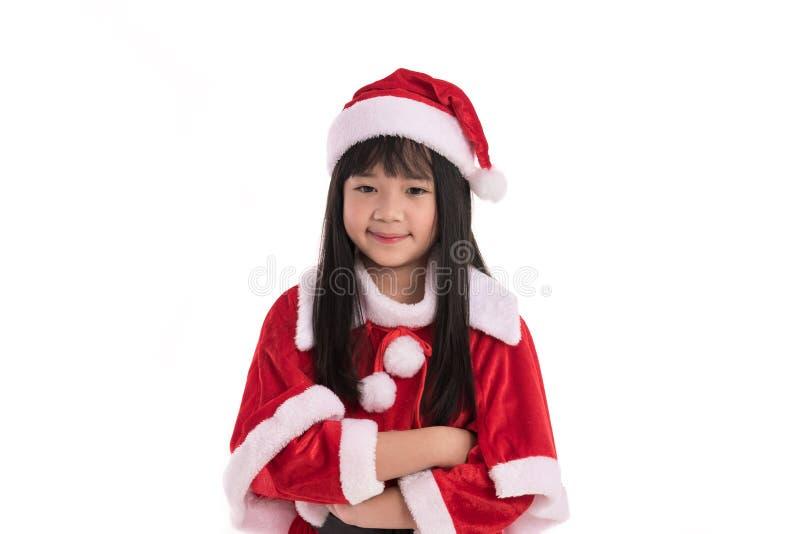 Liten asiatisk flicka i jul royaltyfria foton