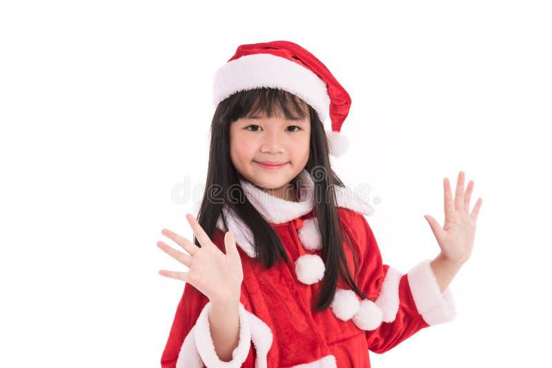 Liten asiatisk flicka i jul arkivfoton
