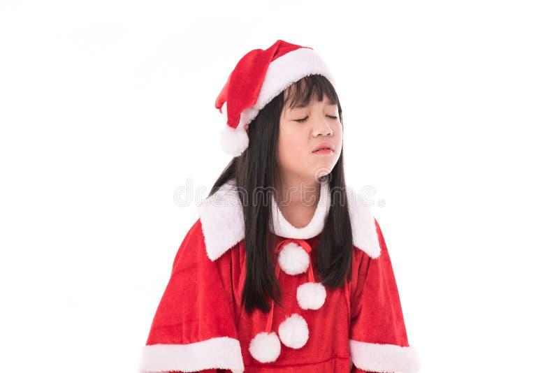 Liten asiatisk flicka i jul arkivbilder