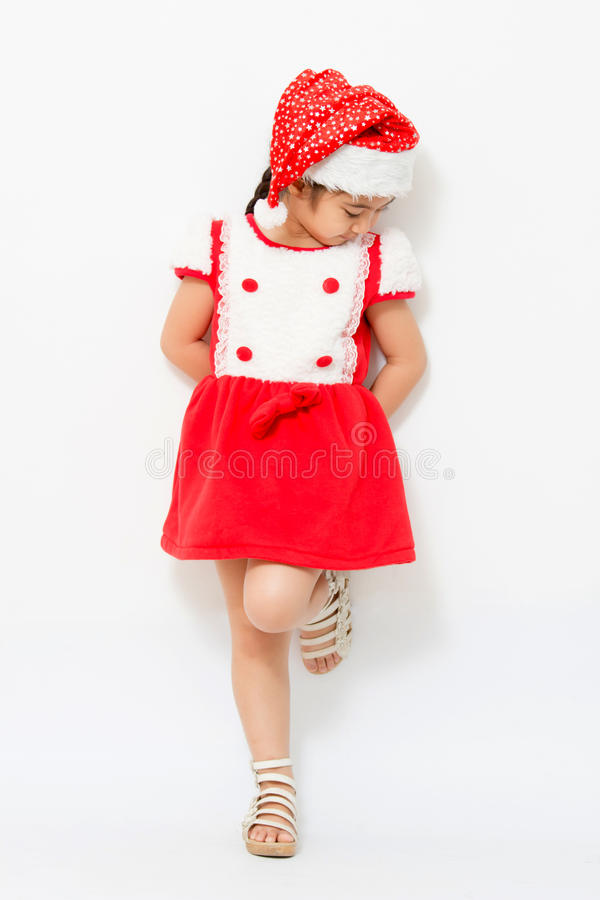 Liten asiatisk flicka på jul royaltyfri fotografi