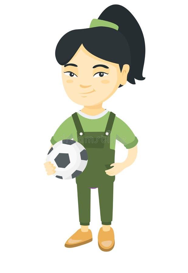 Liten asiatisk flicka som rymmer en fotbollboll royaltyfri illustrationer