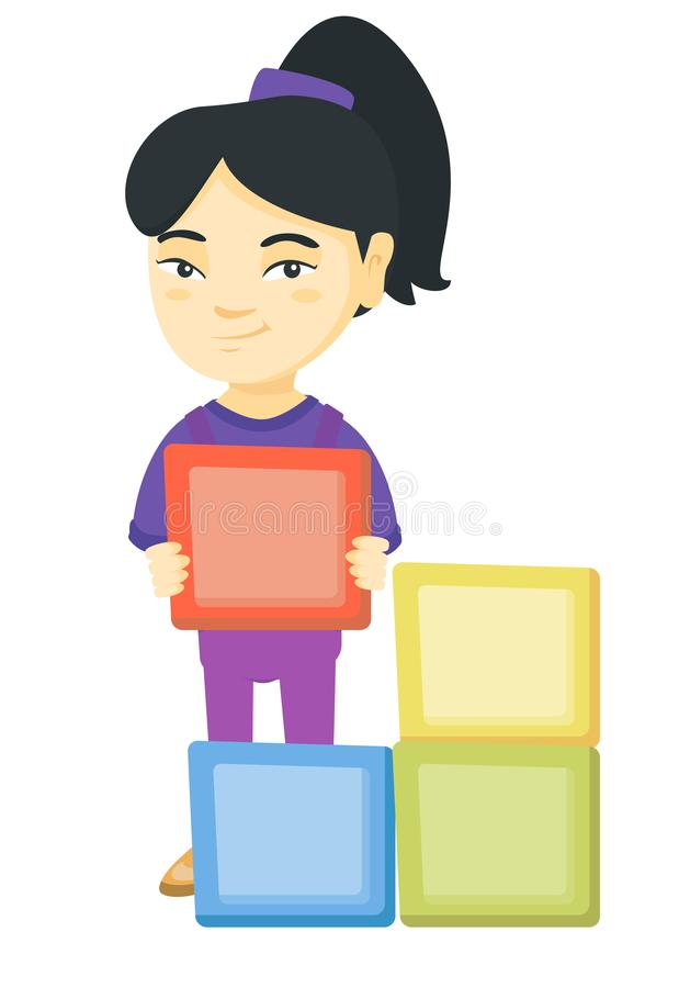Liten asiatisk flicka som spelar med clourful kuber stock illustrationer