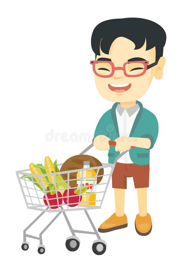 Liten asiatisk pojke med hans shoppingspårvagn royaltyfri illustrationer