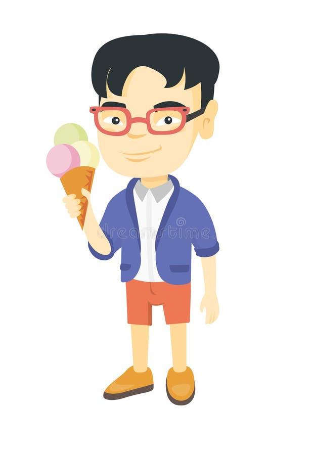 Liten asiatisk pojke som rymmer en glasskotte vektor illustrationer