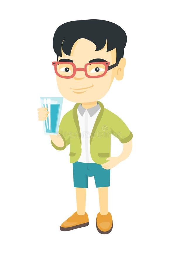 Liten asiatisk pojke som rymmer ett exponeringsglas av vatten royaltyfri illustrationer