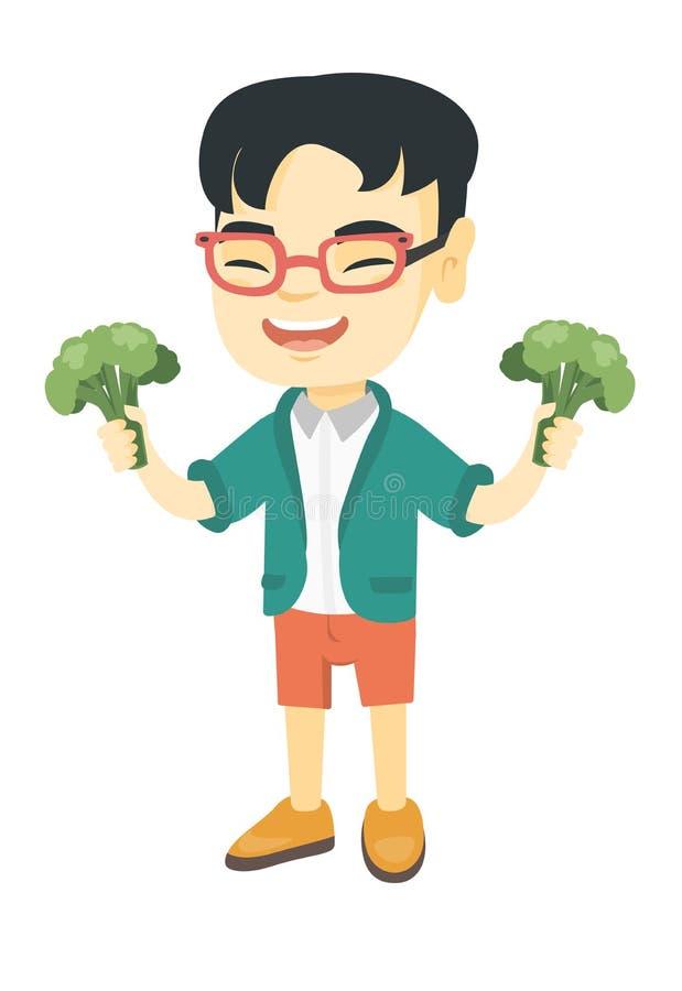 Liten asiatisk pojke som skrattar och rymmer broccoli stock illustrationer