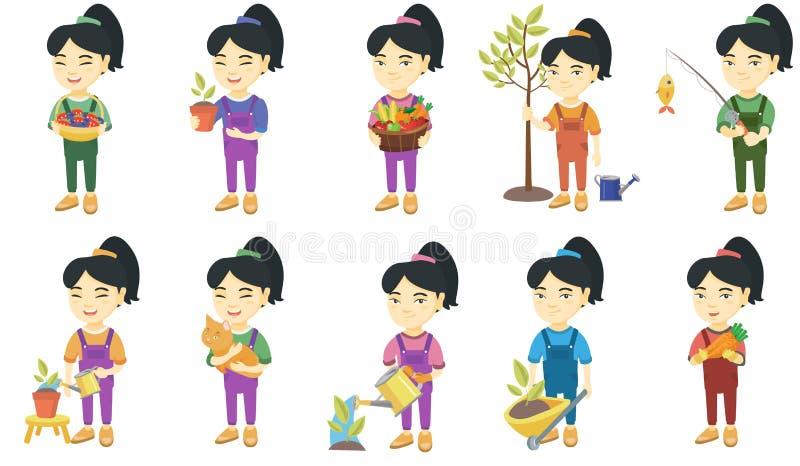 Liten asiatisk uppsättning för flickavektorillustrationer stock illustrationer