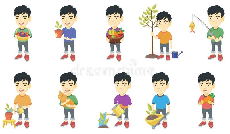 Liten asiatisk uppsättning för pojkevektorillustrationer royaltyfri illustrationer