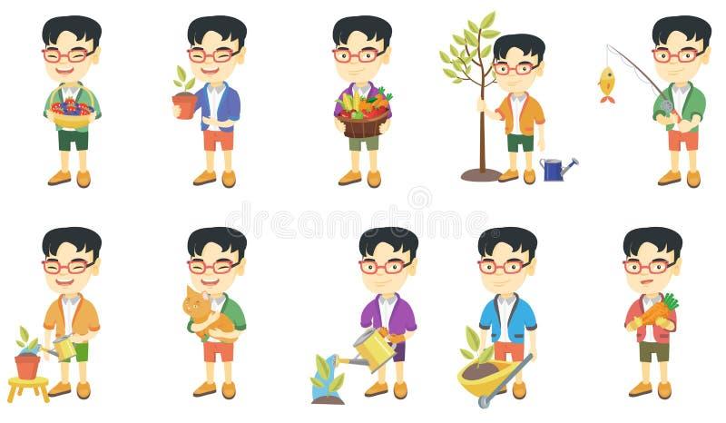 Liten asiatisk uppsättning för pojkevektorillustrationer vektor illustrationer