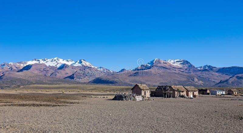Liten by av herdar av lamor i de Andean bergen  arkivbilder