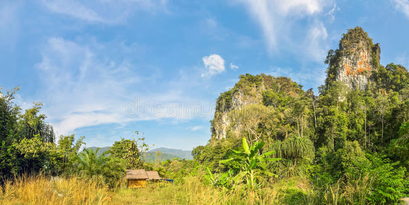 Liten bambu förlägga i barack i djunglerna av Thailand royaltyfri fotografi