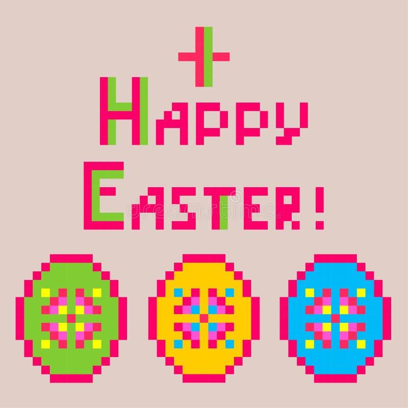 Liten barnslig linneservett med broderi för påsk med färgrika äggformer vektor illustrationer