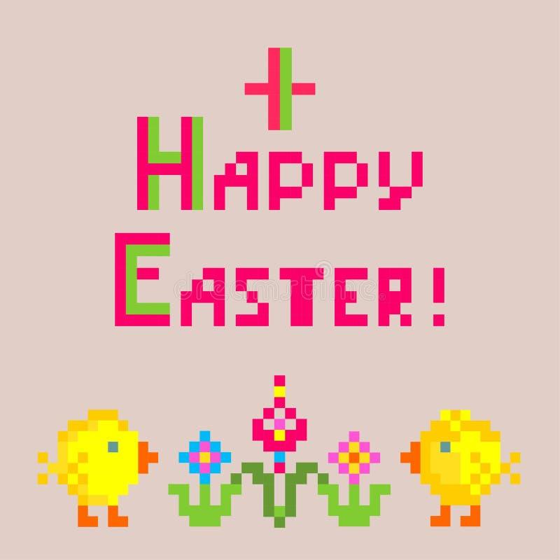 Liten barnslig linneservett med broderi för påsk med rolig höna och blommor stock illustrationer