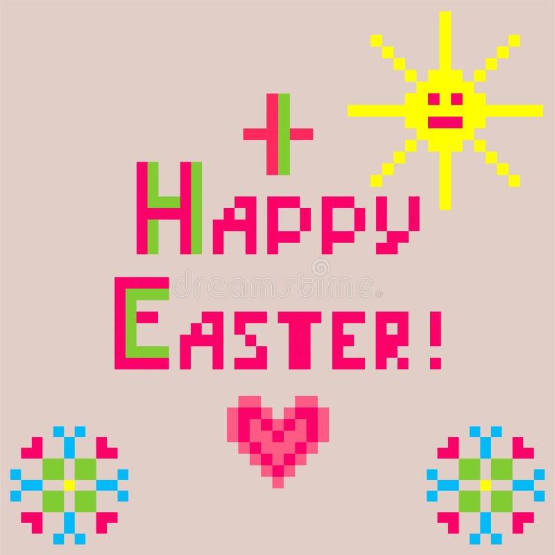 Liten barnslig linneservett med broderi för påsk med solen och hjärta royaltyfri illustrationer
