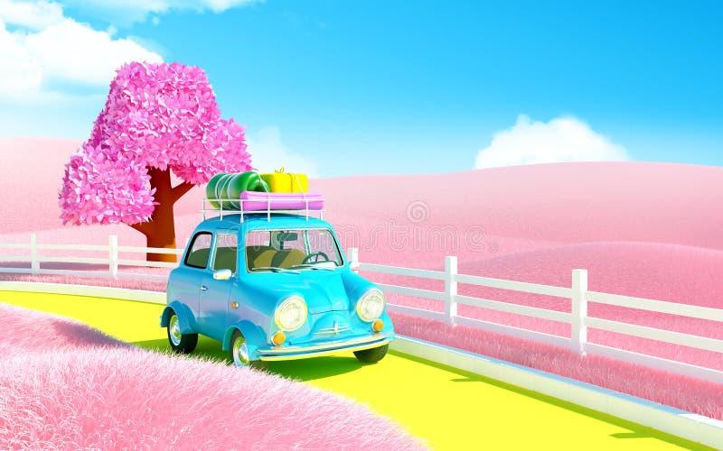Liten bil i rosa färgfält vektor illustrationer