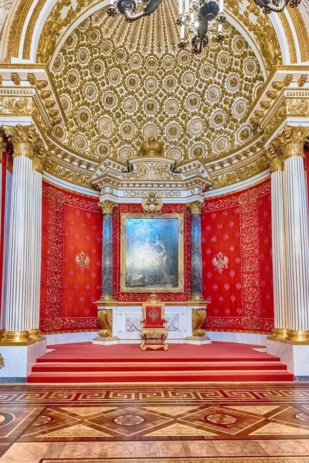 Liten biskopsstol Hall, eremitboningmuseum, St Petersburg, Ryssland royaltyfri fotografi