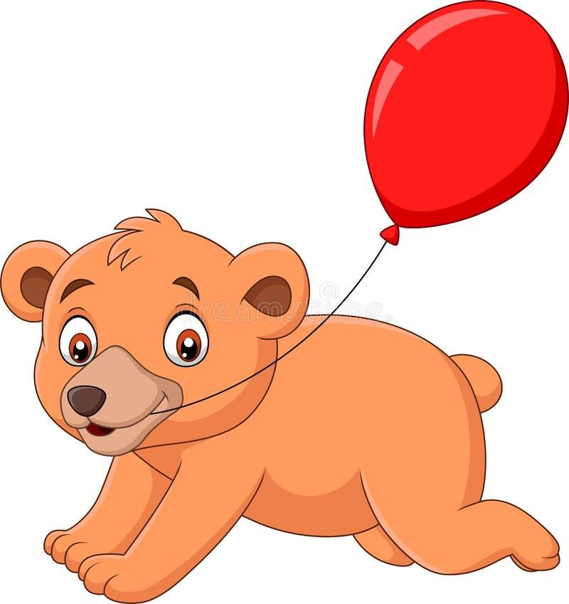 Liten björn för tecknad film med en röd ballong royaltyfri illustrationer