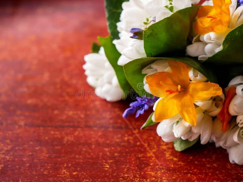 Liten blommabukett för tidig vår på skrapad träyttersida, snödroppe, lilly, gröna sidor arkivbild