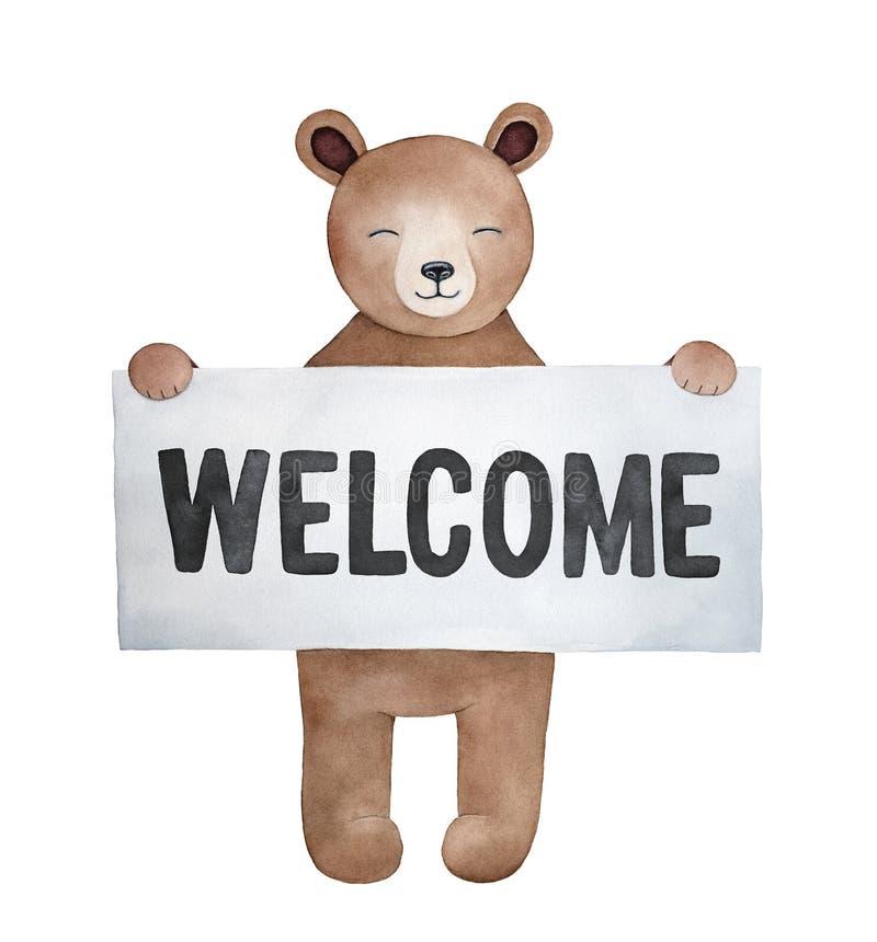 Liten brun anmärkning för innehav för nallebjörn med meddelandet: 'Välkomnande ', vektor illustrationer