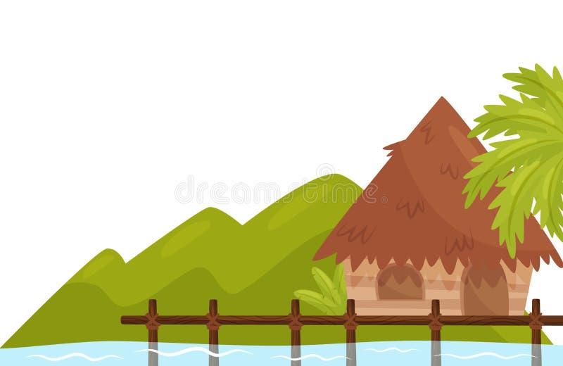 Liten bungalow på kust av havet Tropisk ö med palmträdet och lösa växter naturligt landskap Plan vektordesign stock illustrationer
