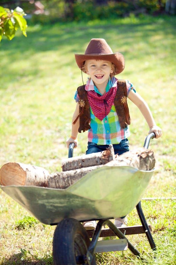 Liten cowgirl arkivfoton