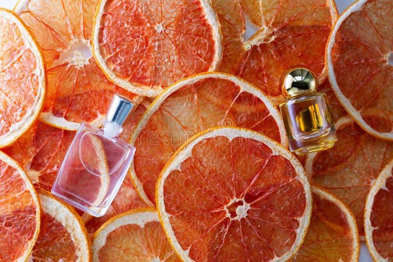 Liten exponeringsglasliten medicinflaska av nödvändig olja för arom på ny skiva för grapefrukt arkivfoton