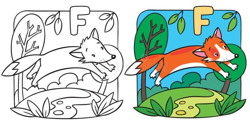 Liten färgläggningbok för röd räv Alfabet F stock illustrationer