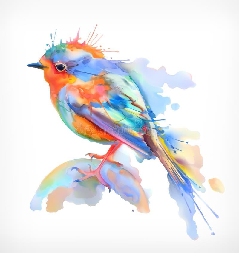 Liten fågel, vattenfärgillustration royaltyfri illustrationer