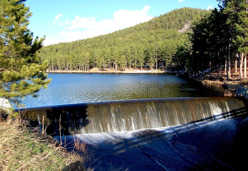 Liten fördämning i sjön med den närliggande skogen arkivfoton