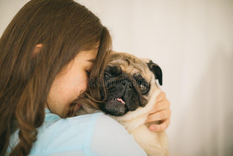 liten förtjusande hund Mänskligt förälskelse och förtroende arkivbild