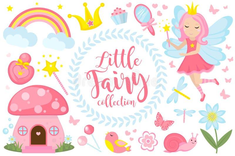 Liten feuppsättning, tecknad filmstil Gullig och mystisk samling för flickor med sagaskogprinsessan, trollspö royaltyfri illustrationer