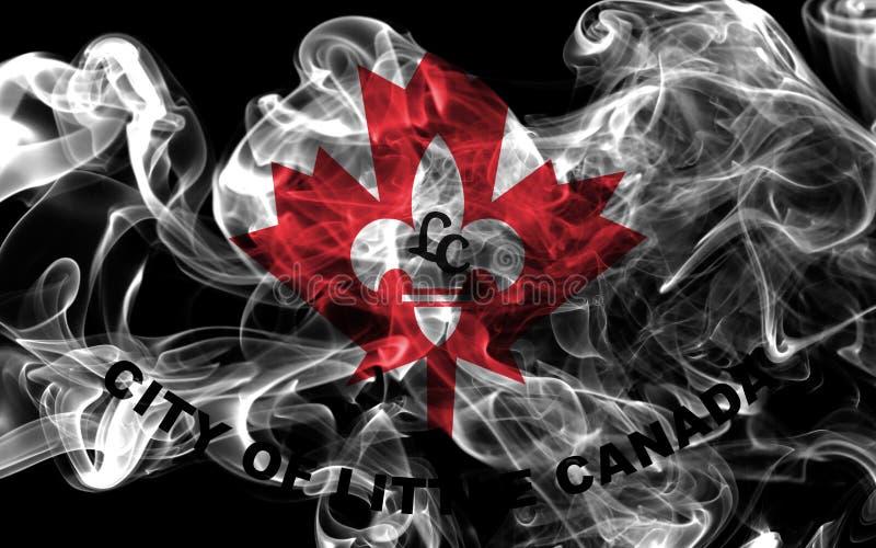 Liten flagga för Kanada stadsrök, Minnesota stat, Förenta staterna av arkivfoton