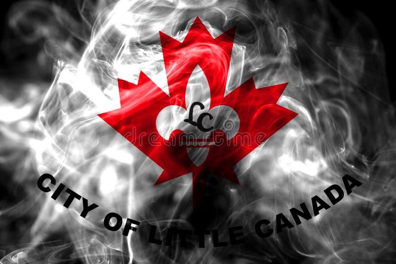 Liten flagga för Kanada stadsrök, Minnesota stat, Förenta staterna av arkivbild