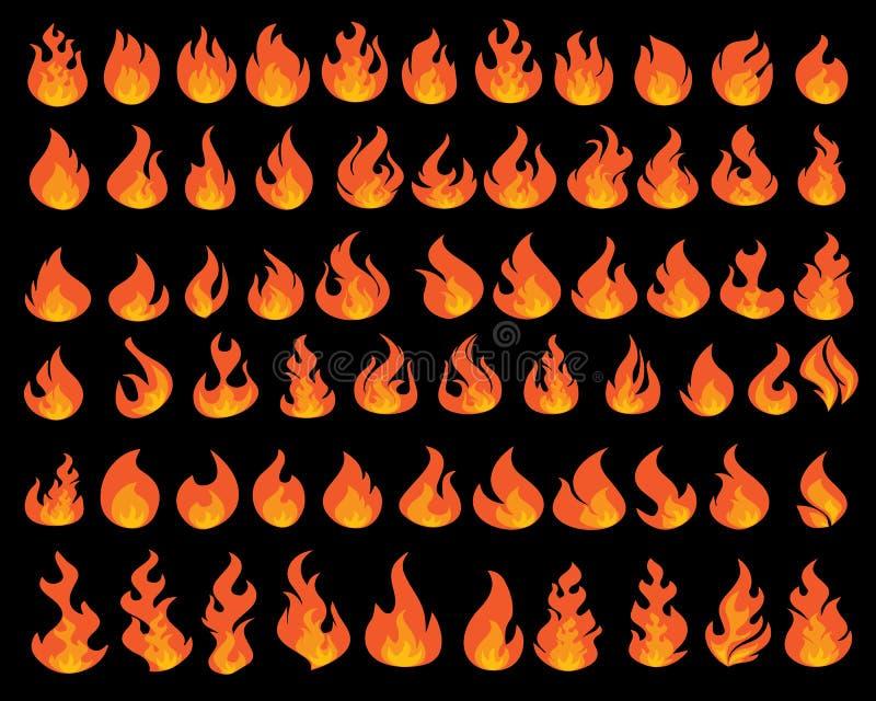 Liten flammaillustrationdesign vektor illustrationer