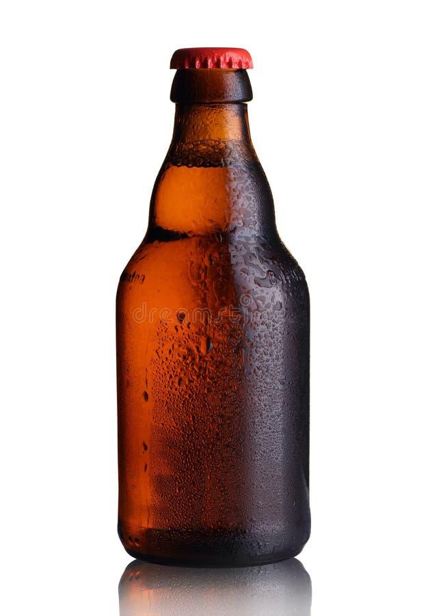 liten flaska av öl med droppar arkivbild