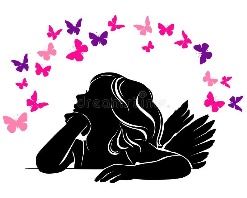 Liten flickaängel och fjärilar royaltyfri illustrationer
