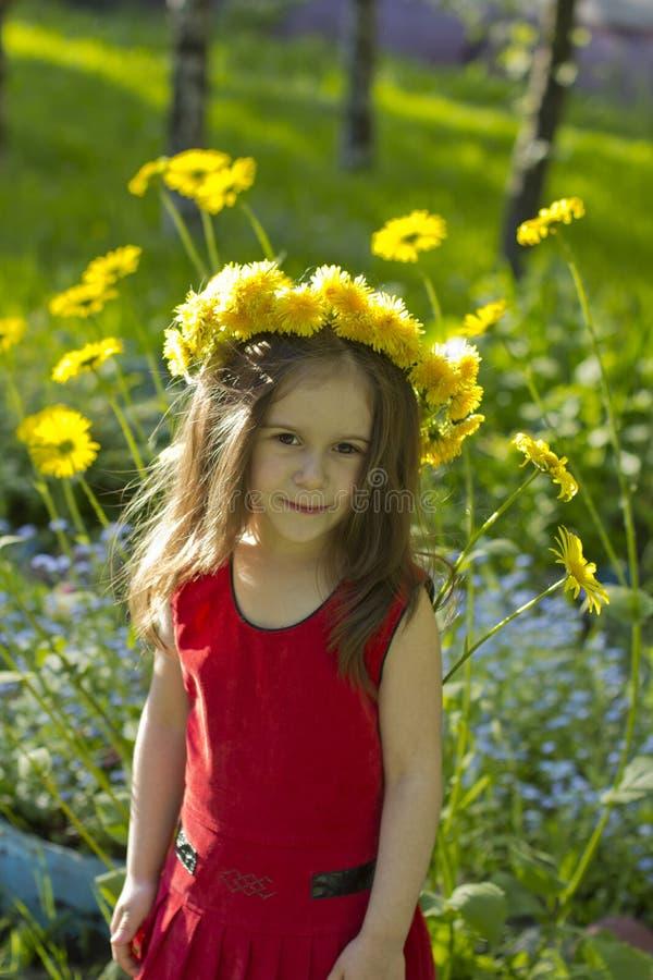Liten flicka bland blommorna arkivbild