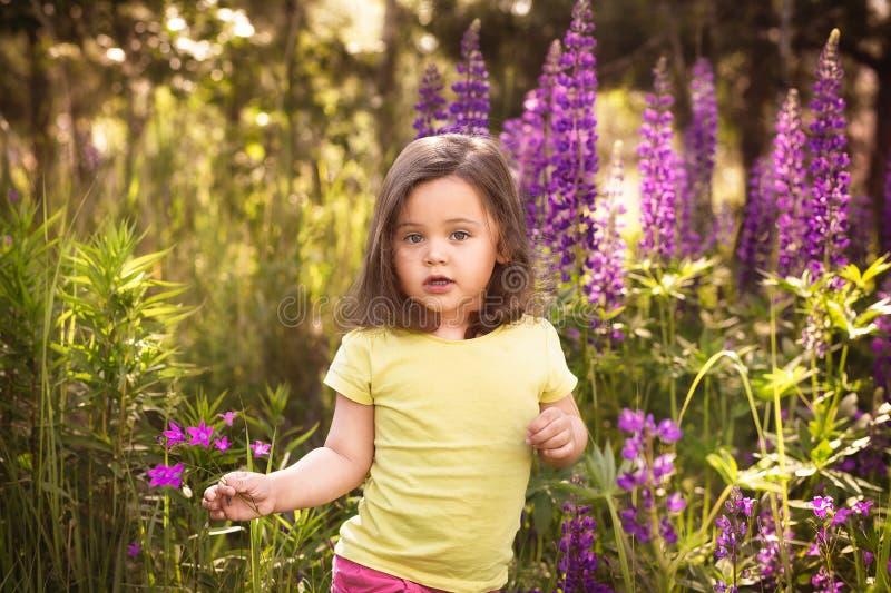 Liten flicka bland blommorna arkivbilder