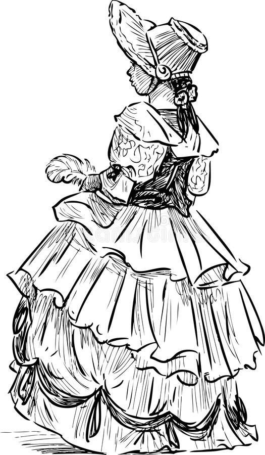 Liten flicka i den historiska dräkten vektor illustrationer