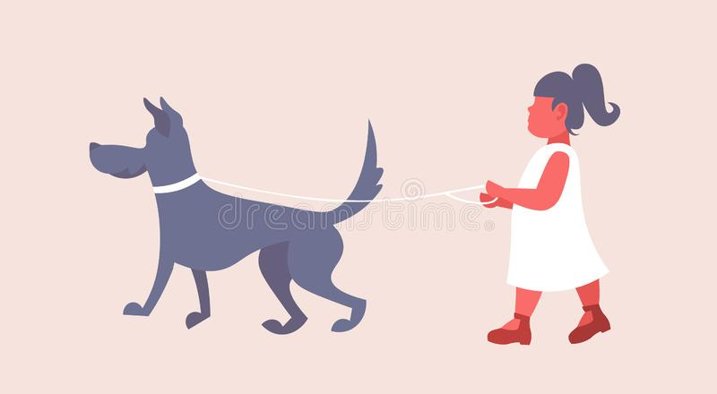 Liten flicka i den vita klänningen som framlänges går med det gulliga barnet för hund och hennes hunden som har rolig kvinnlig fu royaltyfri illustrationer