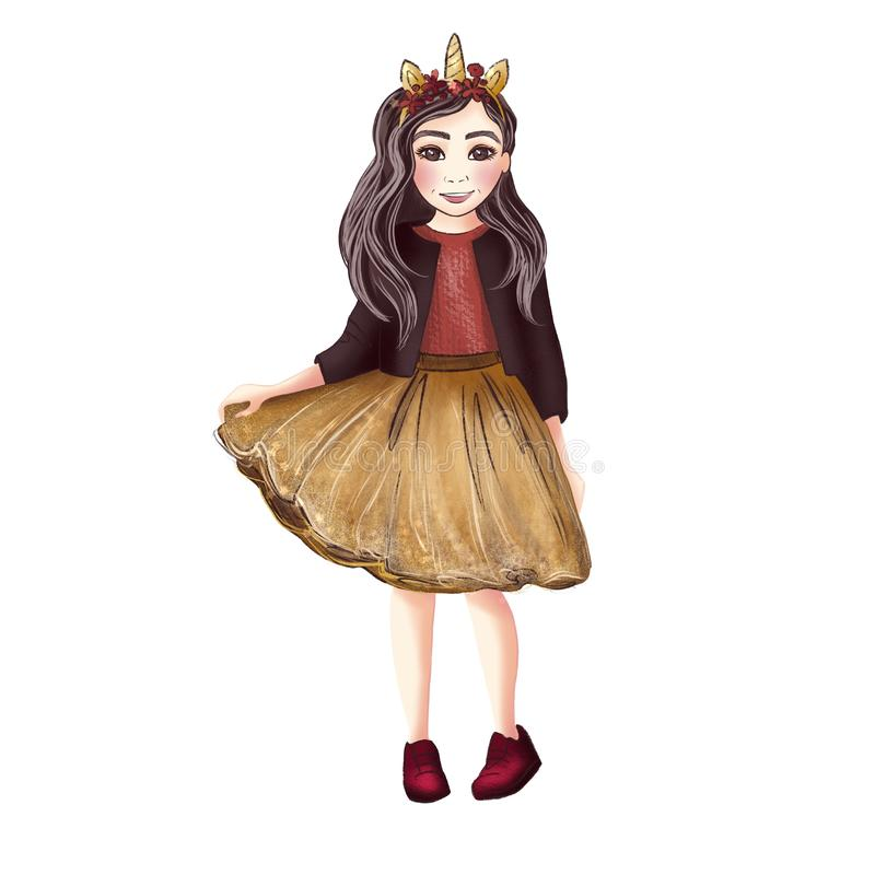Liten flicka i en huvudbindel med en enhörning royaltyfri illustrationer