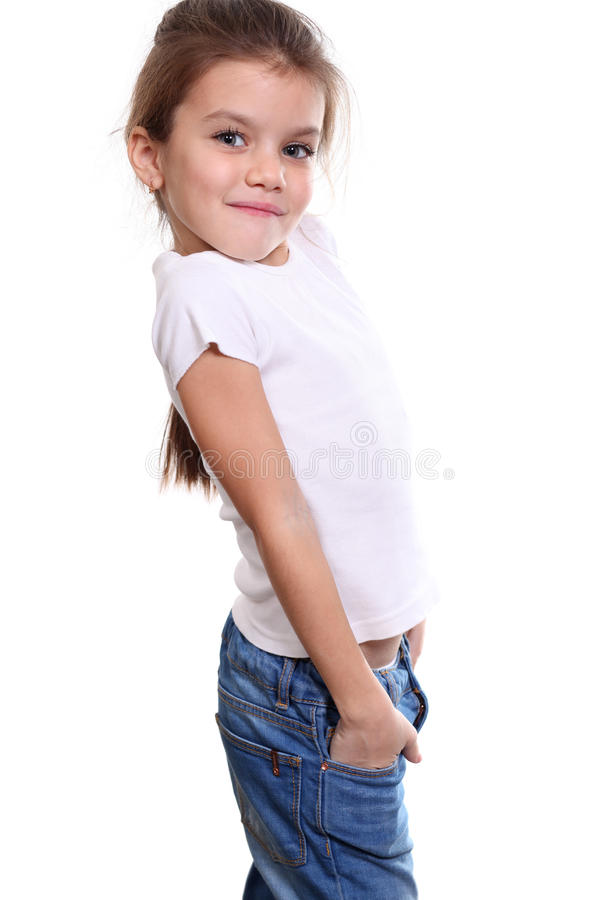Liten flicka i en klänning arkivfoto