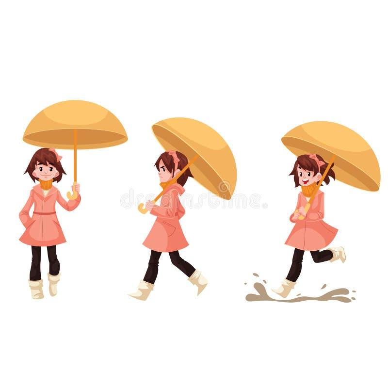 Liten flicka i en regnrock med paraplyet som tycker om regnigt väder stock illustrationer