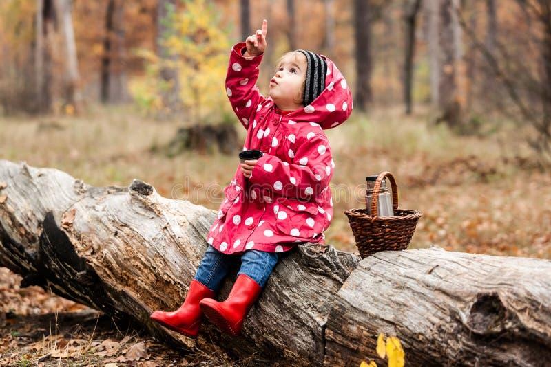 Liten flicka i ett sammanträde för ärtaomslag på ett träd och ett drickate arkivbilder